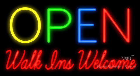 Open Walk Ins Welcome Neon Sign