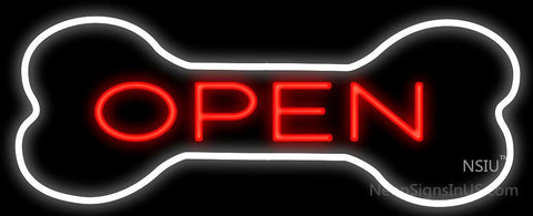 Open With Bone Border Neon Sign