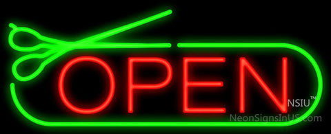 Open With Green Scissors Neon Sign