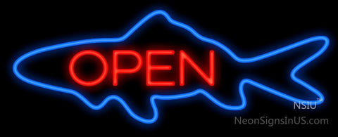 Open w Blue Finned Fish Neon Sign