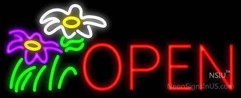 Open with Flowers Neon Sign