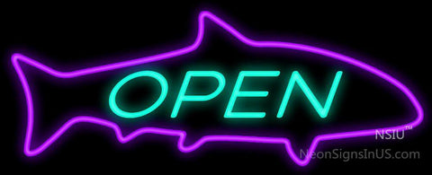 Open with Purple Finned Fish Neon Sign