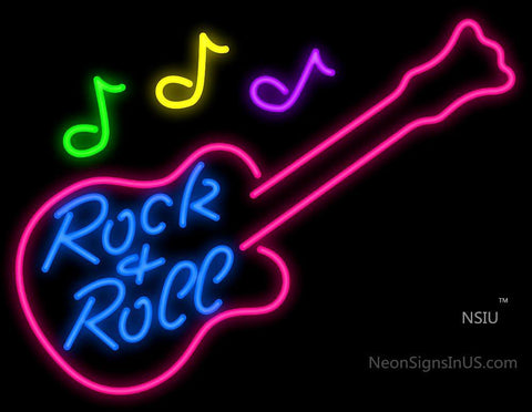 Rock N Roll Guitar With Notes Neon Sign