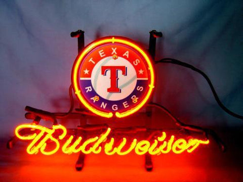 Texas Rangers Baseball Budweiser Beer Neon Light Sign