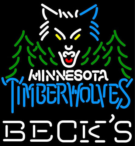 Becks Minnesota Timber Wolves NBA Neon Sign