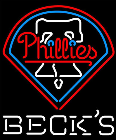 Becks Philadelphia Phillies MLB Neon Sign