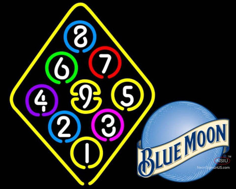 Blue Moon Ball Billiard Rack Pool Neon Beer Sign