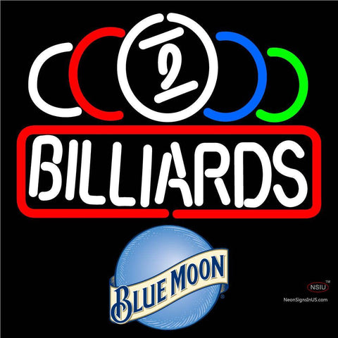 Blue Moon Ball Billiard Text Pool Neon Beer Sign