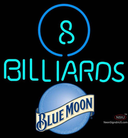 Blue Moon Ball Billiards Pool Neon Beer Sign