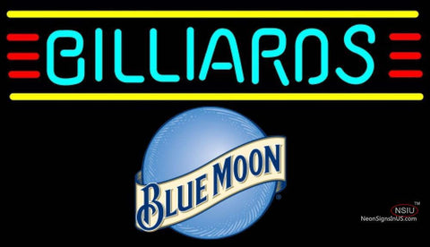 Blue Moon Billiards Text Borders Pool Neon Beer Sign