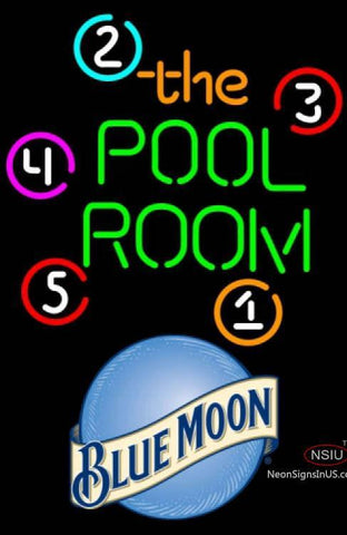 Blue Moon Pool Room Billiards Neon Beer Sign