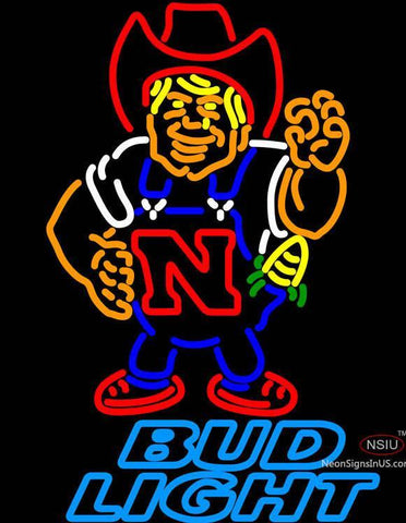 Bud Light Nebraska Cornhuskers Herby The Husker Neon Sign