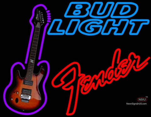 Bud Light Neon Fender Red GUITAR Neon Sign  7