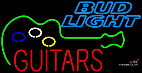 Bud Light Neon GUITAR Flashing Neon Sign