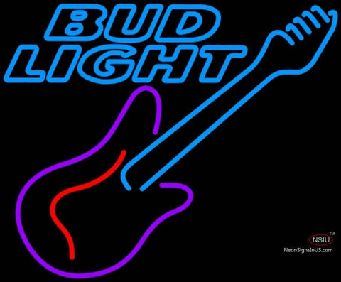 Bud Light Neon GUITAR Purple Red Neon Sign