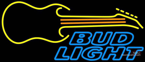Bud Light Neon GUITAR Yellow Orange Neon Sign