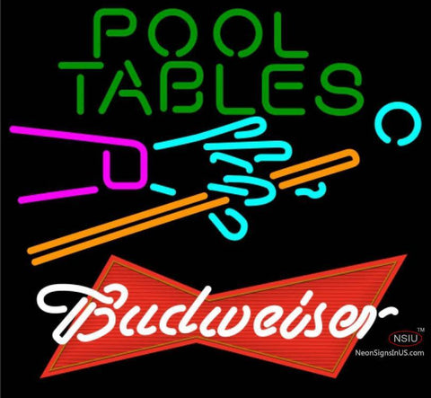 Budweiser Red Pool Tables Billiards Neon Sign