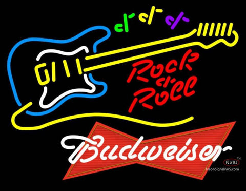 Budweiser Red Rock N Roll Yellow Guitar Neon Sign