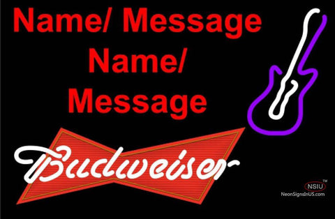 Budweiser Red Violet Guitar Neon Sign