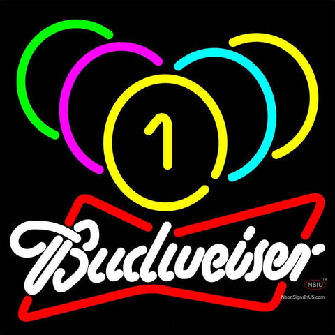 Budweiser White Billiards Rack Pool Neon Sign   x