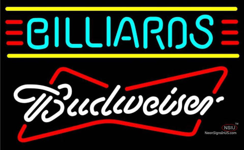 Budweiser White Billiards Text Borders Pool Neon Sign