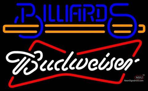 Budweiser White Billiards Text With Stick Pool Neon Sign
