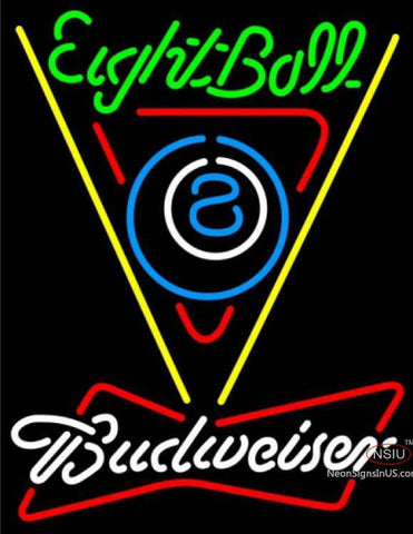 Budweiser White Eight Ball Billiards Pool Neon Sign