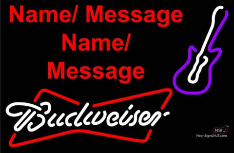 Budweiser White Violet Guitar Neon Sign