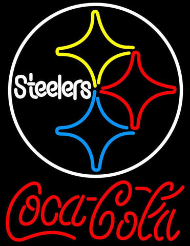 Coca Cola Pittsburgh Steelers Logo Red Text NFL Neon Sign