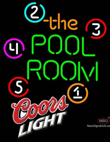 Coors Light Pool Room Billiards Neon Beer Sign
