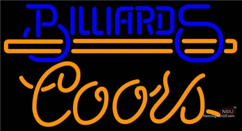 Coors Neon Billiards Text With Stick Pool Neon Beer Sign