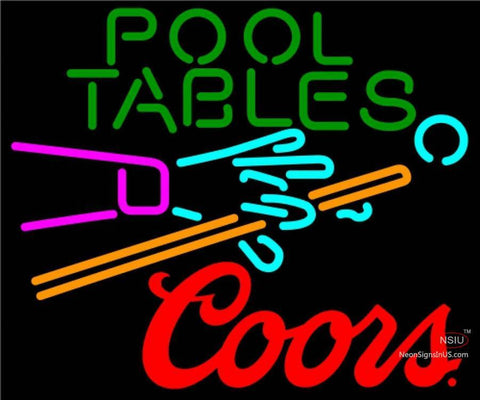 Coors Pool Tables Billiards Neon Beer Sign