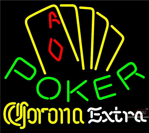 Corona Extra Poker Yellow Neon Sign
