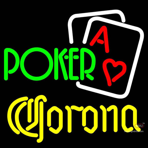 Corona Green Poker Neon Sign x