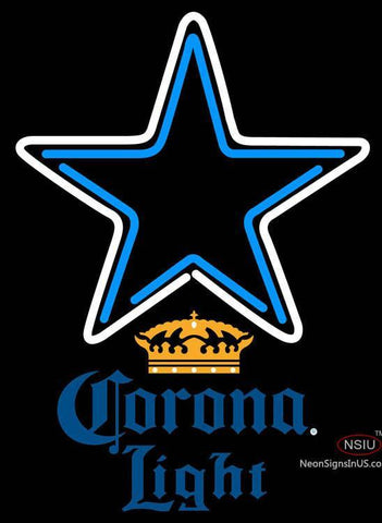 Corona Light Dallas Cowboys NFL Neon Sign
