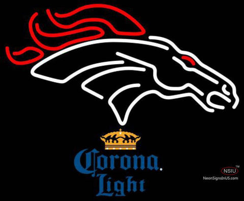 Corona Light Denver Broncos NFL Neon Sign