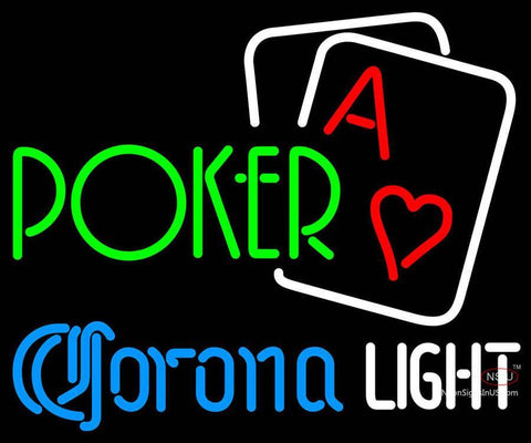 Corona Light Green Poker Neon Sign