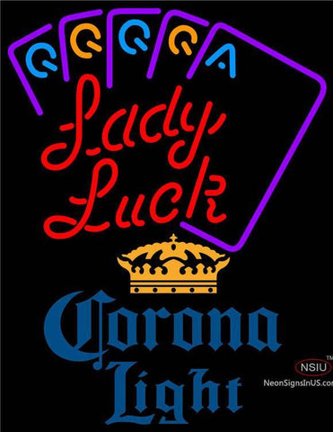 Corona Light Lady Luck Series Neon Sign