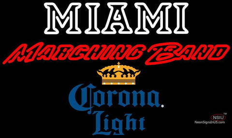 Corona Light Miami UNIVERSITY Band Board Neon Sign