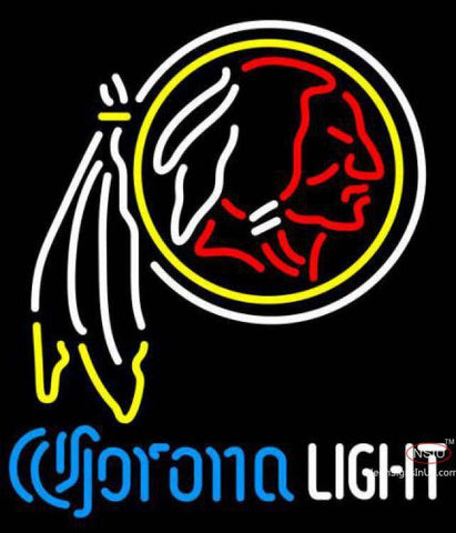Corona Light Neon Logo Washington Redskins NFL Neon Sign