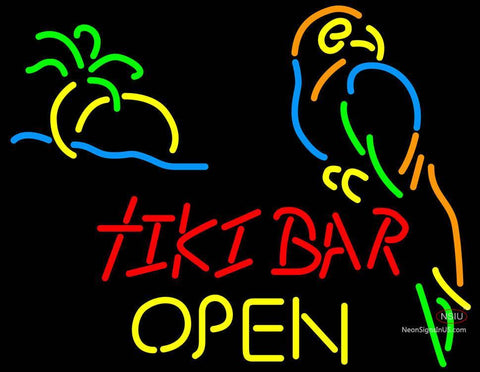 Corona Tiki Bar Palm Tree Parrot Open Neon Beer Sign