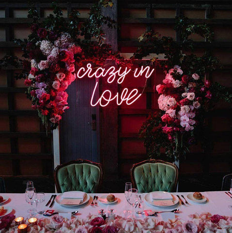 crazy in love neon sign for wedding home