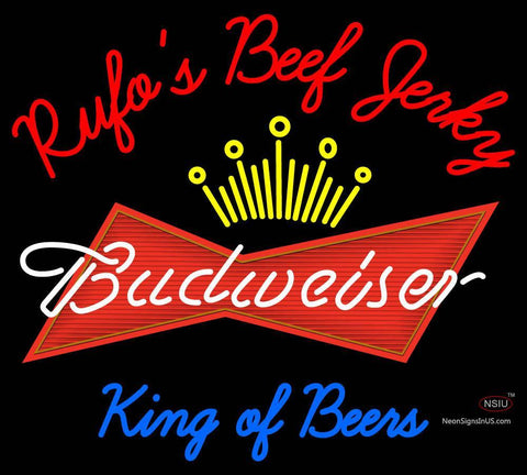 Cusotm Rufos D Jerky Kings Of Beer Budweiser Neon Sign