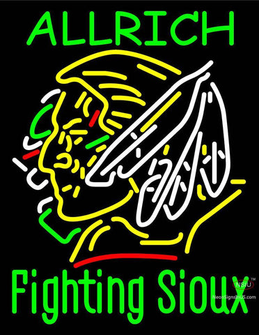 Custom Allrich Fighting Sioux Neon Sign