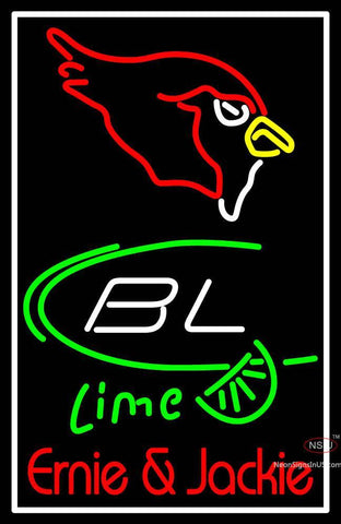 Custom Arizona Cardinal Bud Light Lime Ernie And Jackie Neon Sign