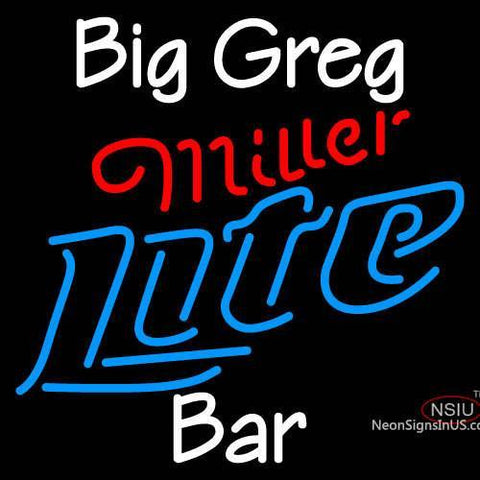 Custom Big Greg Bar Miller Light Neon Sign
