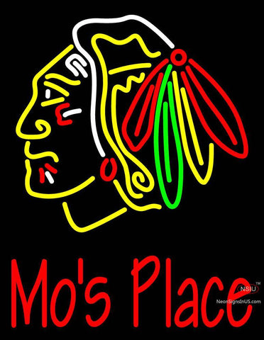 Custom Blackhawks Stock  Logo Mo Neon Sign