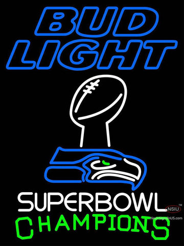 Custom Bud Light Seattle Seahawks Super Bowl ChampIons Neon Sign