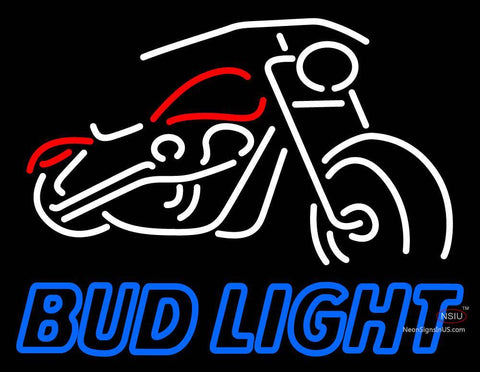 Custom Bud Light With Motorcycle Neon Sign