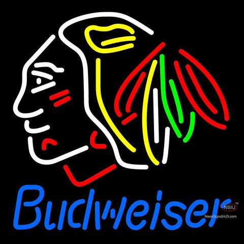 Custom Budweiser Chicago Blackhawks Indian Hockey Neon Sign